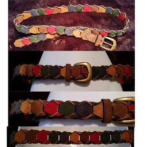 Vintage colorful belt 42 in long leather suede